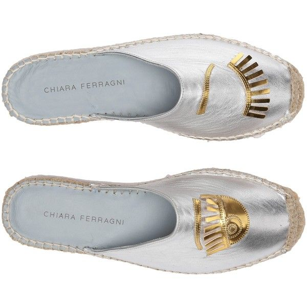 9c3475f8c Chiara Ferragni Metallic Flirting Espadrille Mules (Silver/Gold Trim)...  ($180) ❤ liked on Polyvore featuring shoes, sandals, silver, silver  metallic ...
