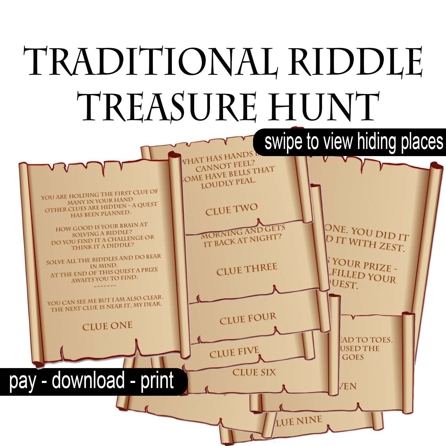 Traditional Riddle Treasure Hunt Clues Printable hidden