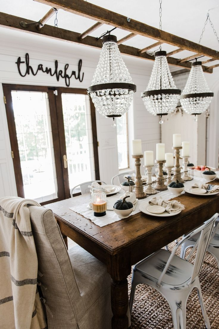 Dining Rooms Decorating Ideas New Simple & Neutral Fall Farmhouse Dining Room  Farmhouse Style 2018