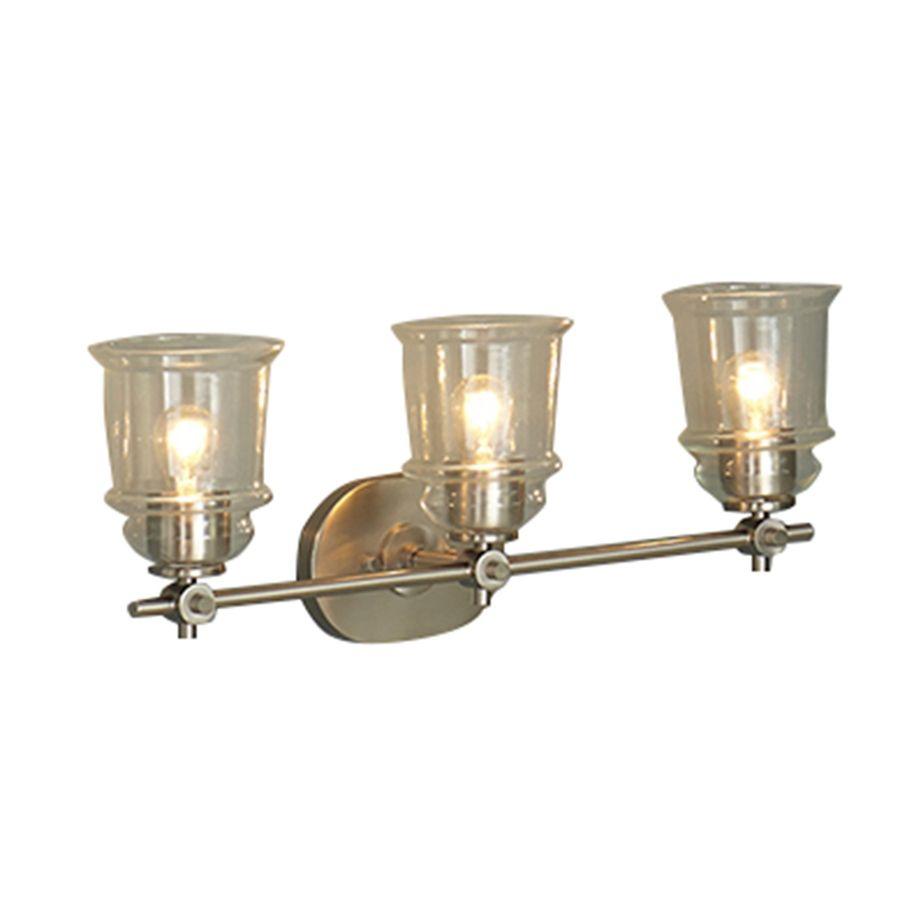 Vanity Lights Lowes Shop Allen  Roth 3Light Winsbrell Brushed Nickel Standard Bathroom