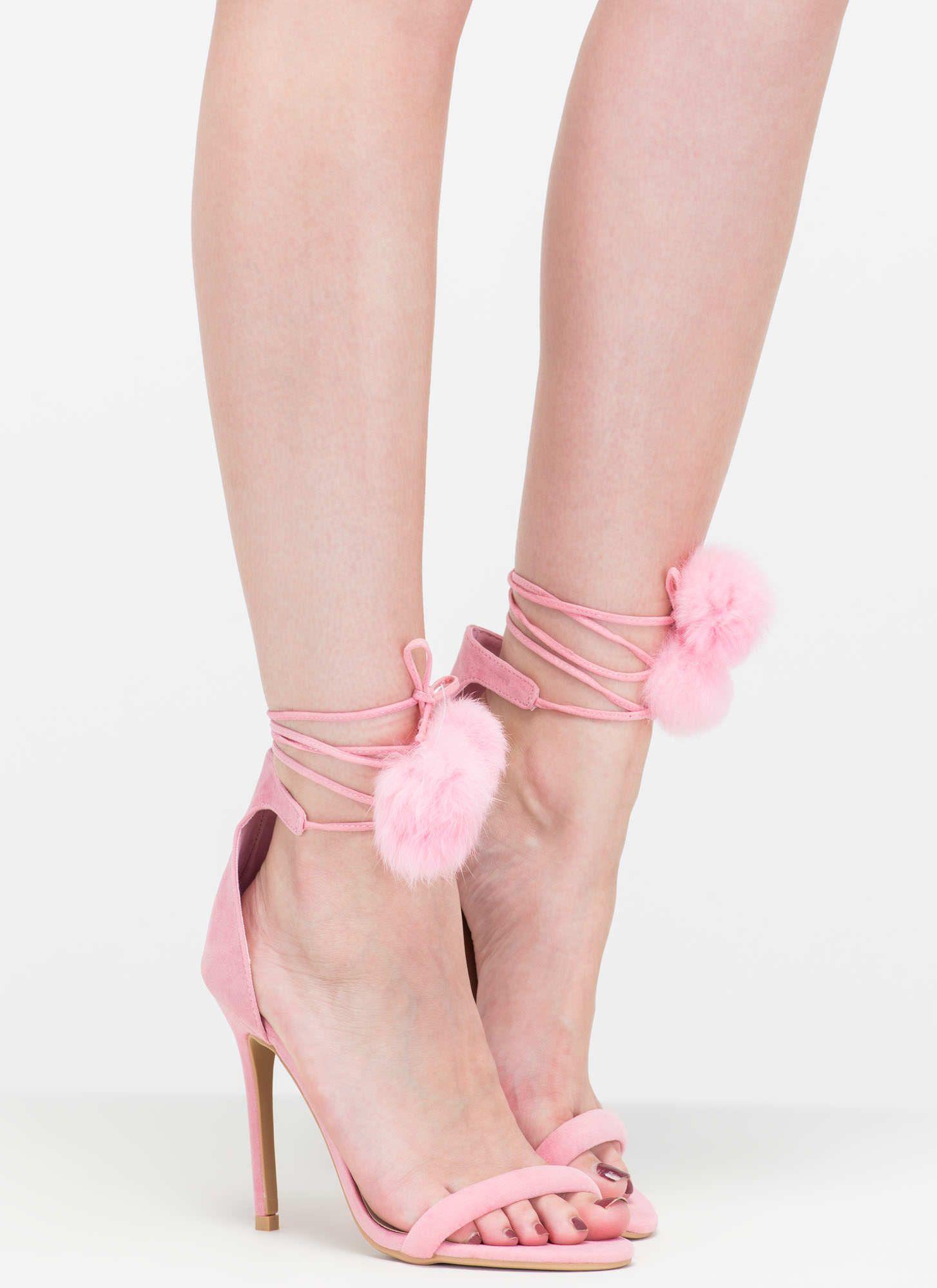 b9e76fef04 Pom-Pom Squad Faux Suede Heels | Shoe Lovers Paradise | Heels, Pink ...