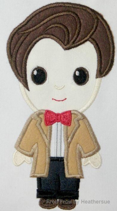 Eleventh Doctor Cutie Who Machine Applique Embroidery Design