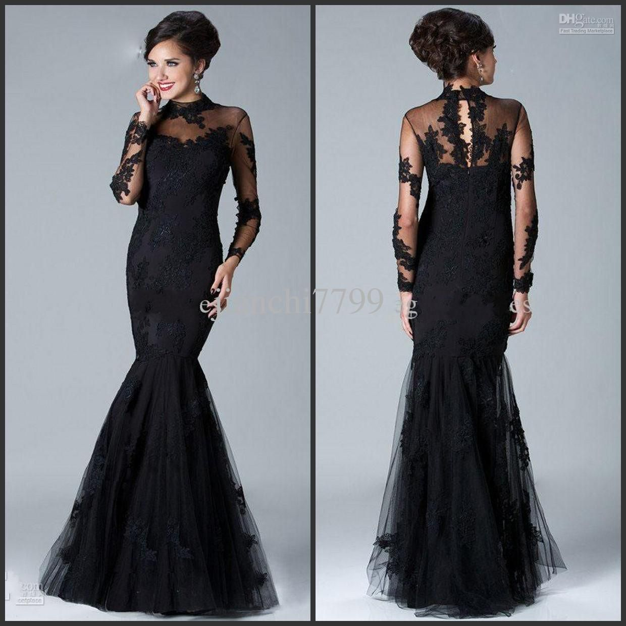 Wholesale Evening Dresses - Buy 2014 New Arrival Charming Black High Neck Long Sleeve Mermaid Tulle Floor Length Pageant Evening/ Party Dress AB692, $162.0 | DHgate