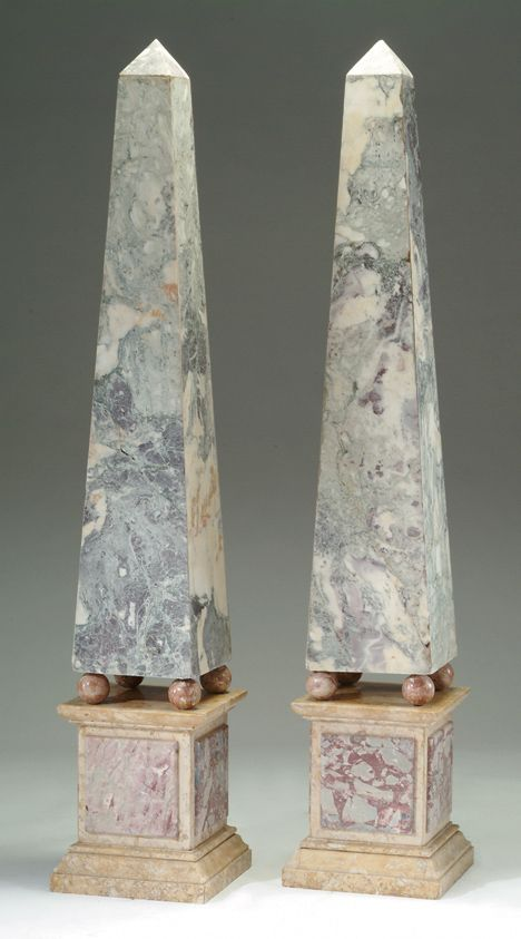 Pair Of Neoclassical Style Marble Obelisks Veneered Raised On Four Bun Feet And Square Ba Obelisk Neoclassical Interior Design