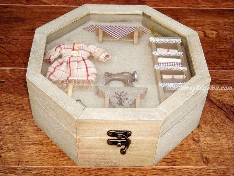 bonita caja de costura de madera y cristal con forma octogonal cm de