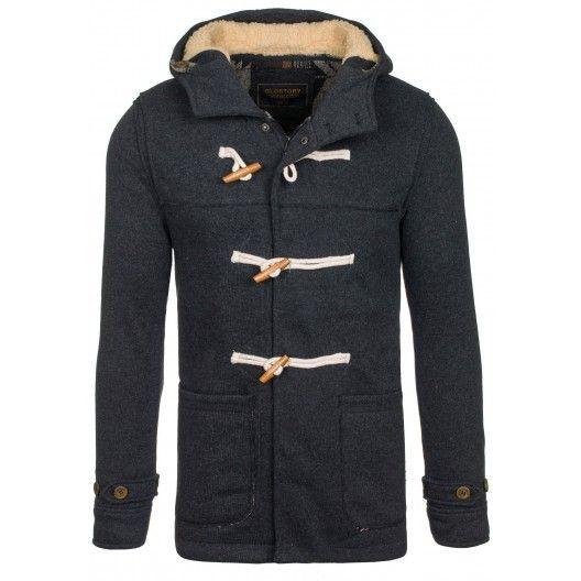 Pánsky športovo elegantný kabát čiernej farby - fashionday.eu