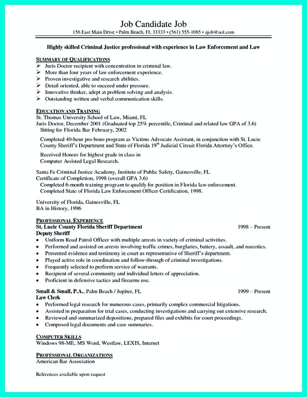 Best Criminal Justice Resume Collection From Professionals Criminal Justice Resume Criminal