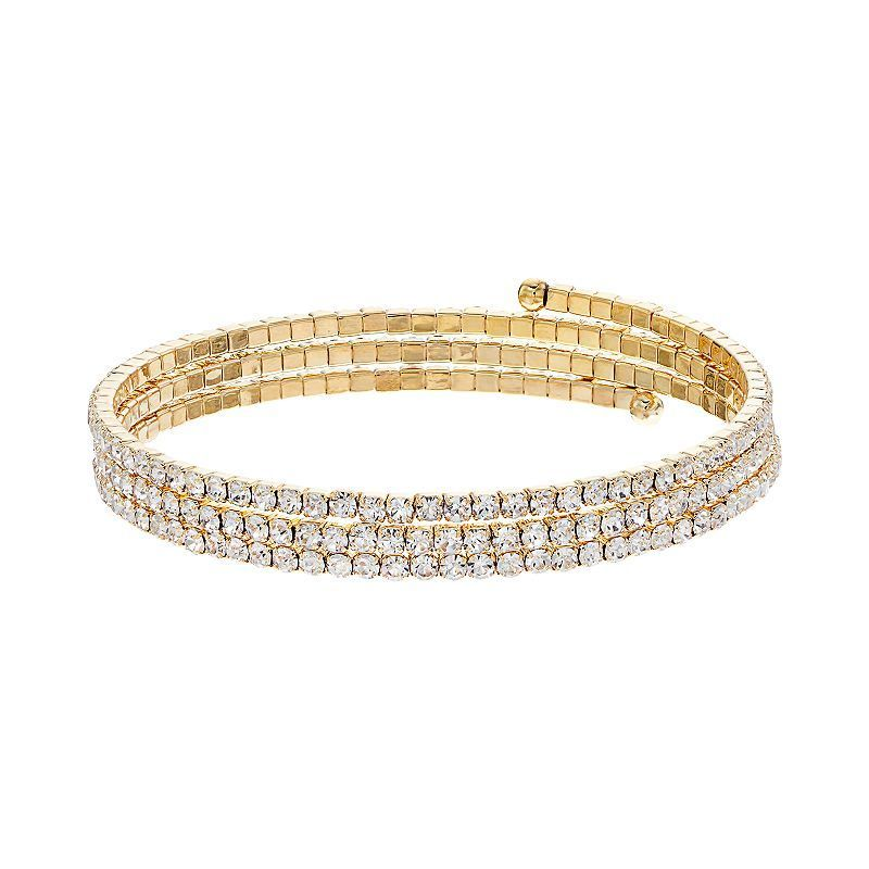 Simulated Crystal Coil Bracelet, Women's, multicolor