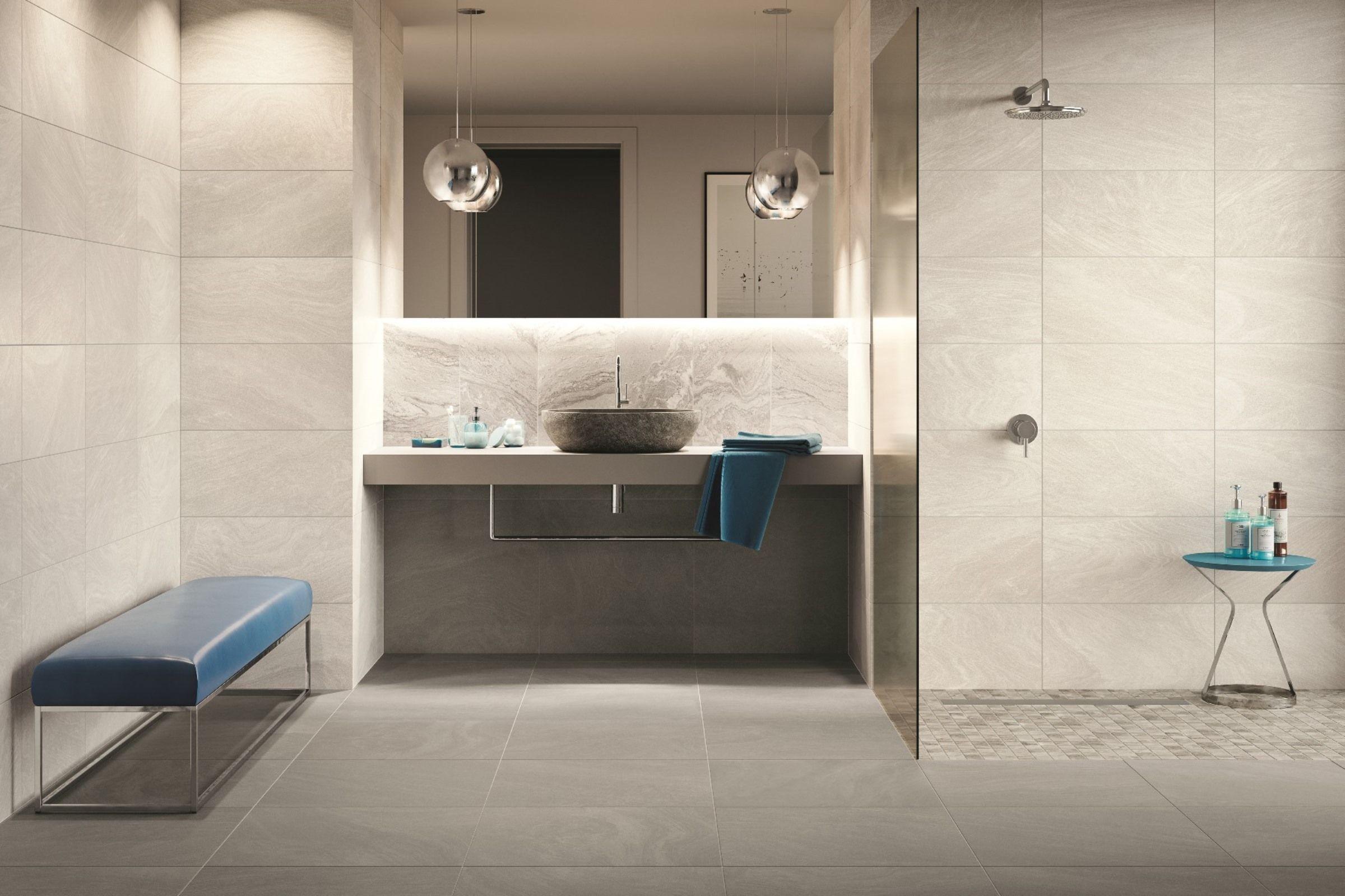 Ein Harmonisches Badezimmerdesign Farbspiel Fliesen Tiles