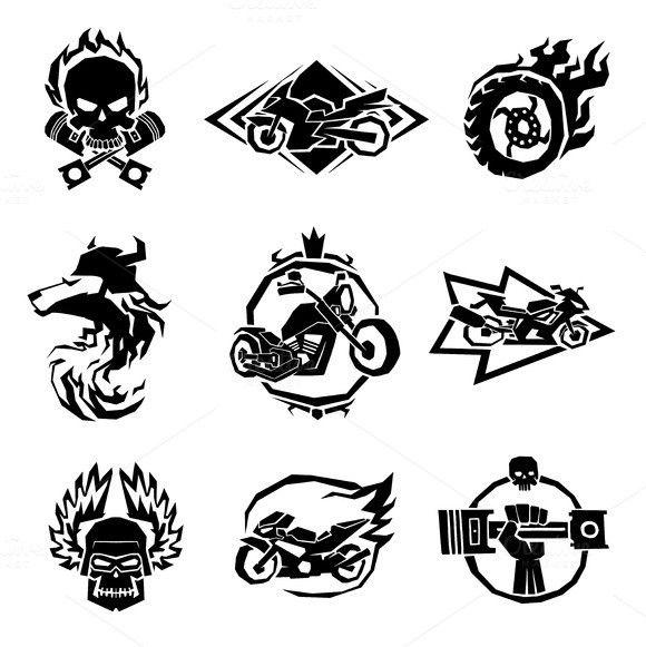 Bikers Badges Emblems Vector Logo Set Badge Vector Logo