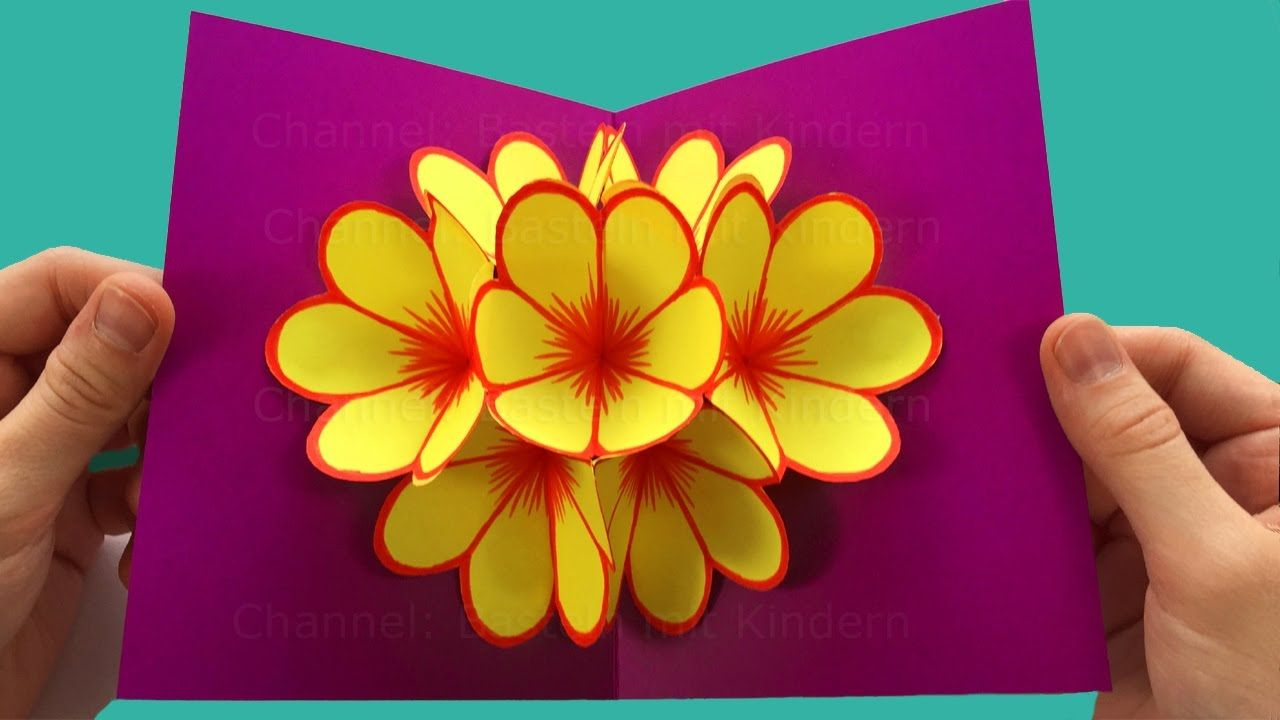 Mother S Day Pop Up Card Flower Tutorial Easy 5 Minute Crafts To