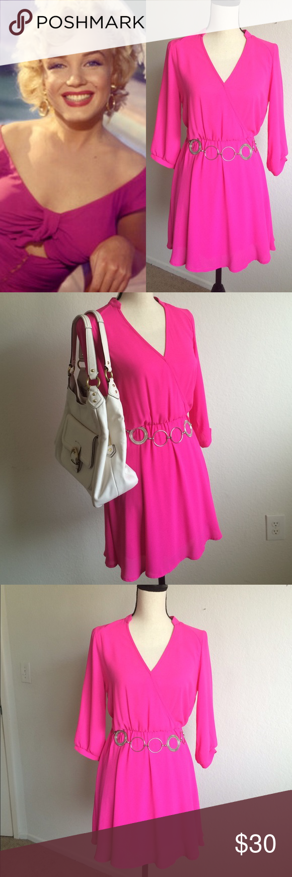 ⚜dress This item is a simple elegant hot pink dress with long sleeve. You can wear in many party events and occasions. Dresses