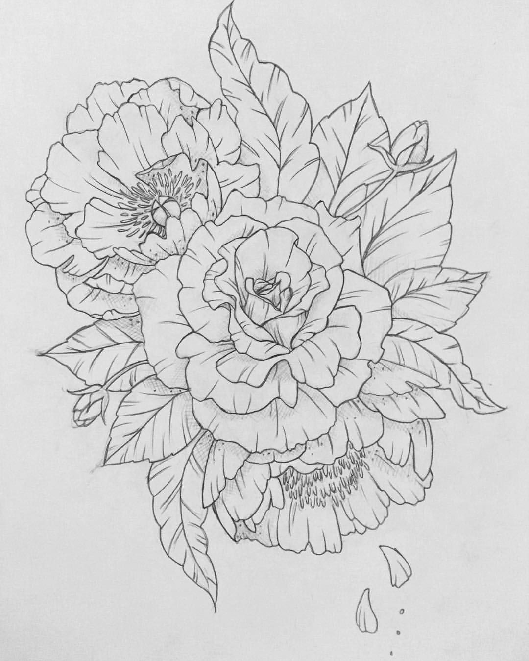 Roses And Peonies Flower Drawing Peony Drawing Drawings