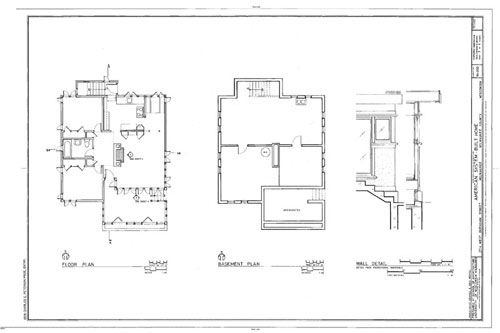 "Basement Plan First Floor Plan Section Small House ""Model B1"