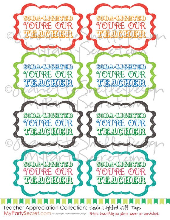 DIY Printable Teacher Appreciation Soda-Lighted Gift Tags Craft - copy certificate of appreciation for teachers