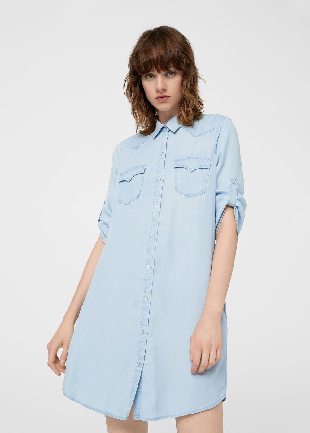 456305b3a3bc59 Denim shirt dress - Women   Mango   Denim shirt dress, Dresses ...