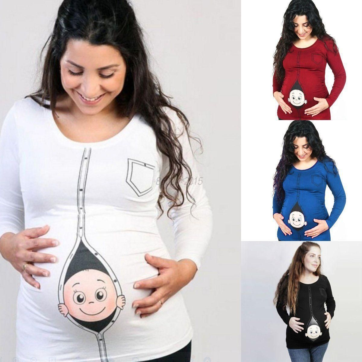 267e029d Cartoon Baby Print Staring Women Maternity Pregnant Short T-Shirt Funny Tops