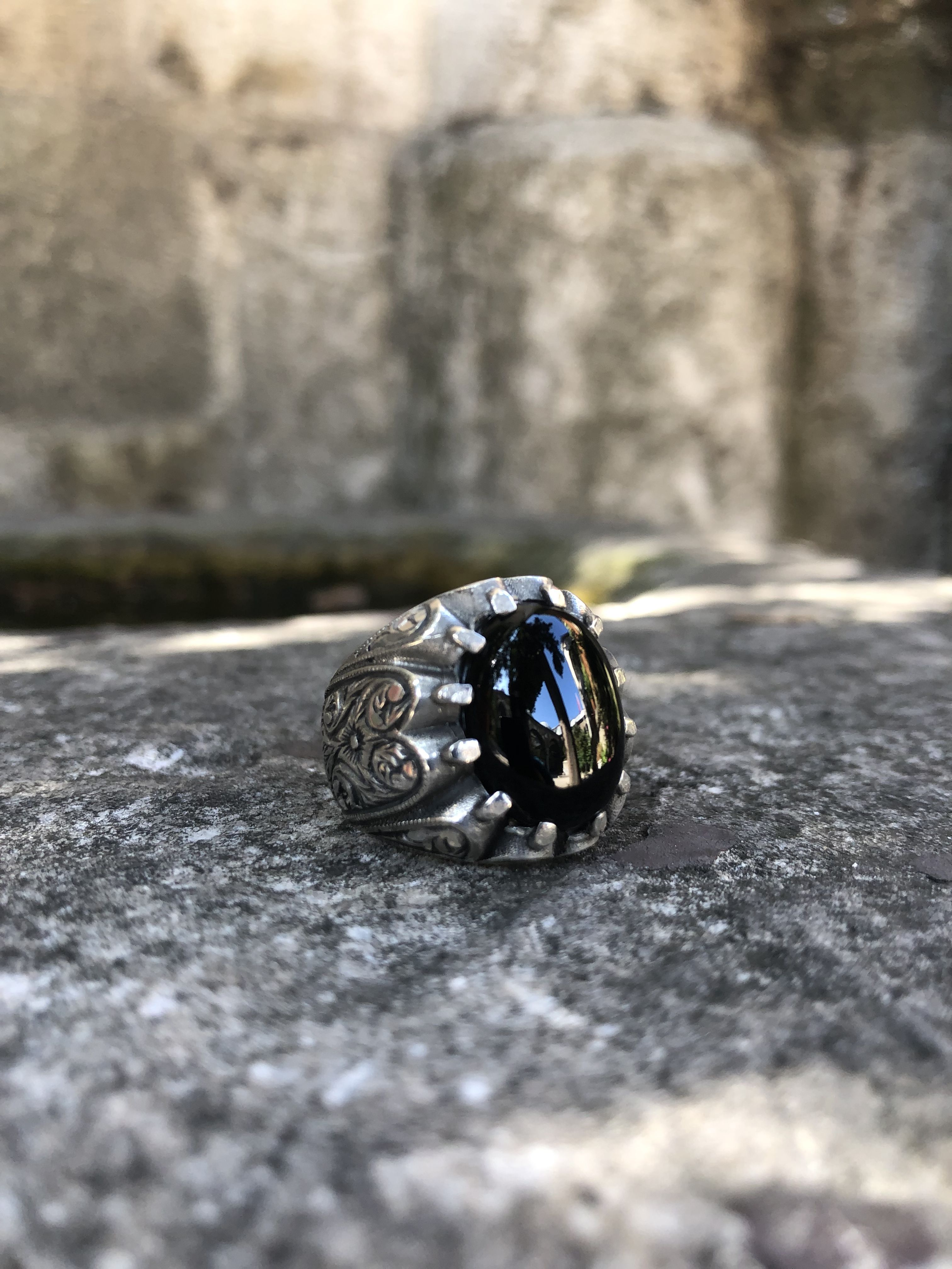 925 Sterling Silver Handcraft Jewelry Onyx Gemstone Men/'s  Ring