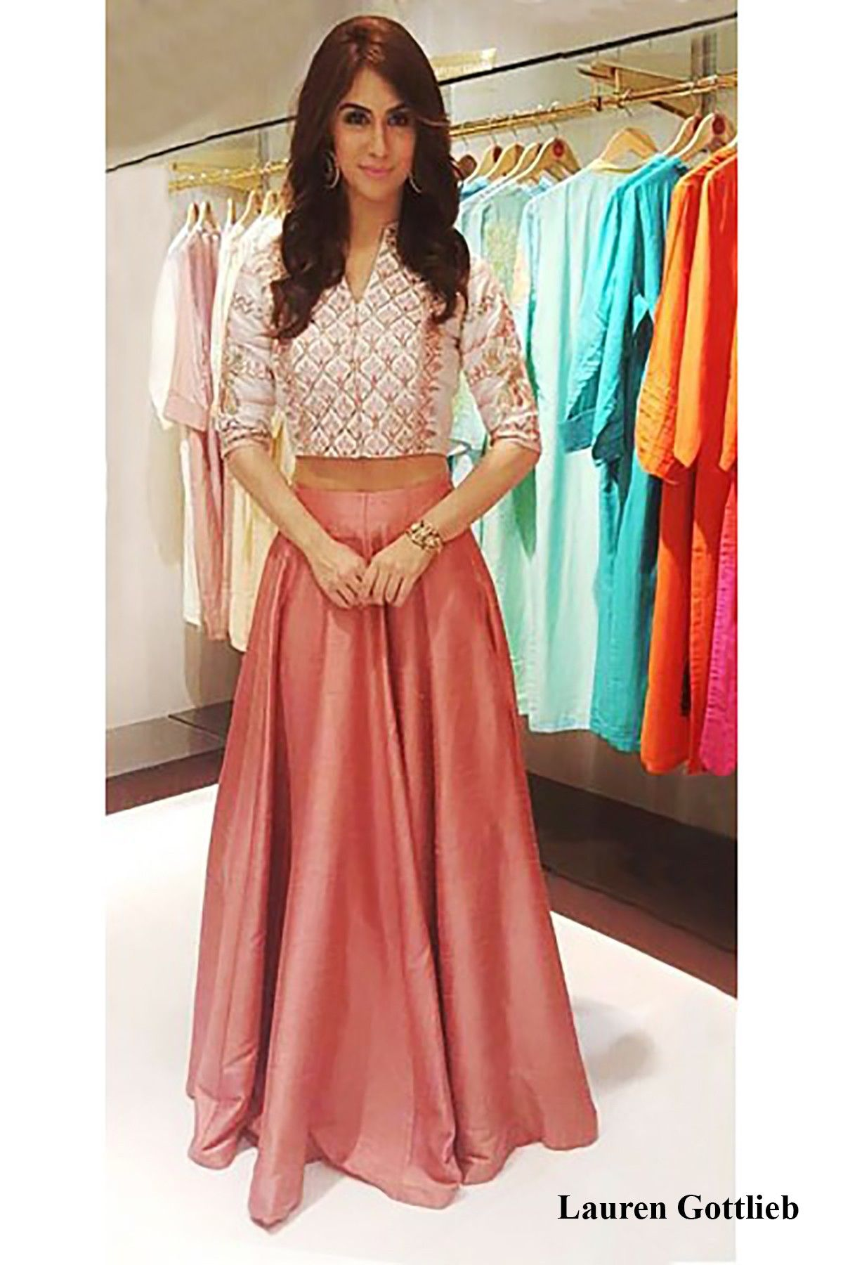 Featuring a crop top and skirt in shades of blush. To wear it on ...