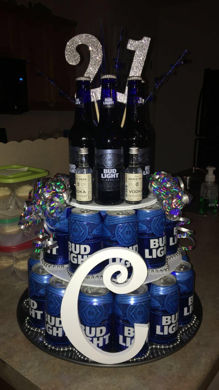 21st birthday for boyfriend, beer cake, bud light