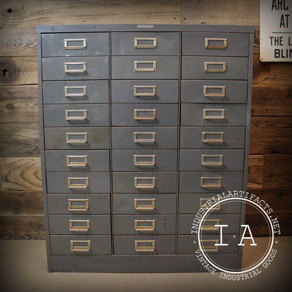 Vintage Industrial Steelmaster 30 Drawer By Industrialartifact 400 00 Tool Storage Cabinets Vintage Industrial Storage