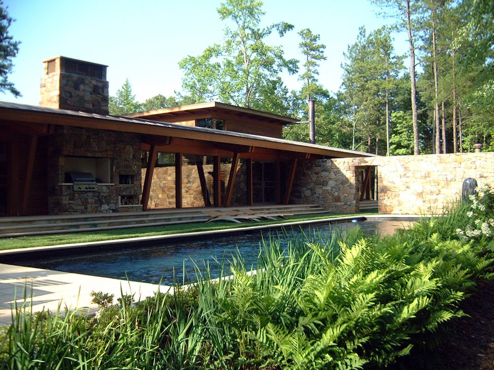 Stone And Wood House Designs Exterior Modern Landscaping