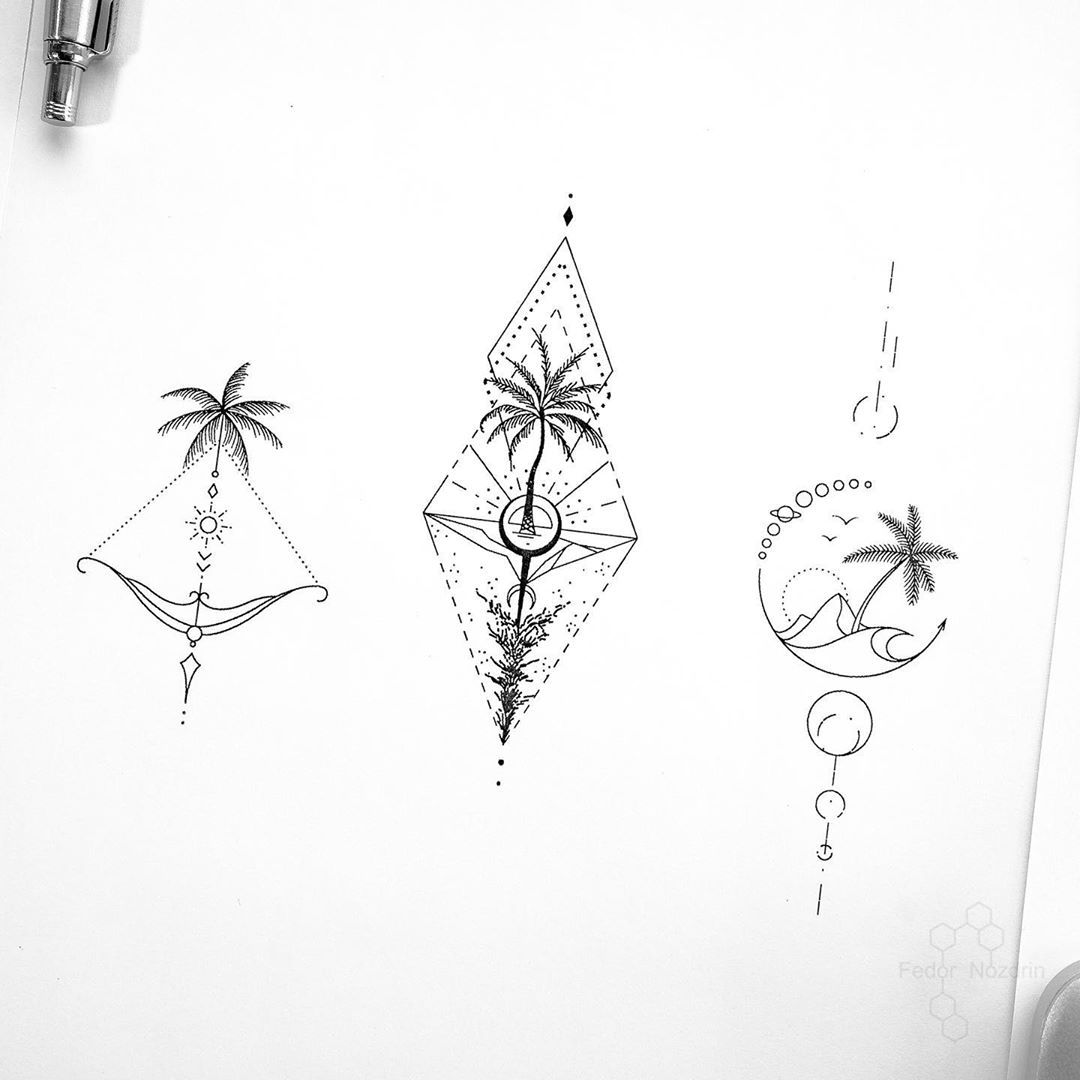 "Photo of © Tattoo Artist Fedor Nozdrin on Instagram: ""Available designs. . . . #geometrictattoo #geometrictattoodesign #palmtreetattoo #palmtree #moontattoo #linework #tinelines #tinytattoo…"""