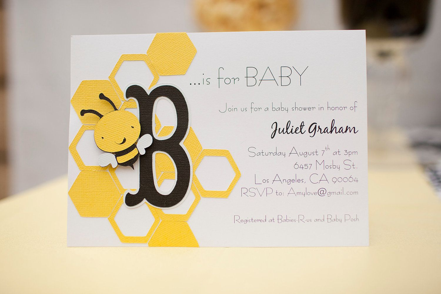 Baby shower invitations honey bee theme and b is for baby set of baby shower invitations honey bee theme and b is for baby set of 10 handmade 3000 via etsy solutioingenieria Image collections