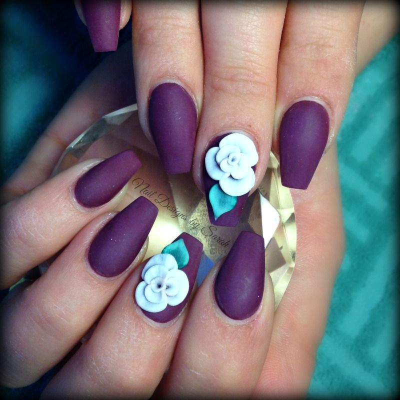 Matte wine coffin nails with 3D roses | Nail Love | Pinterest ...