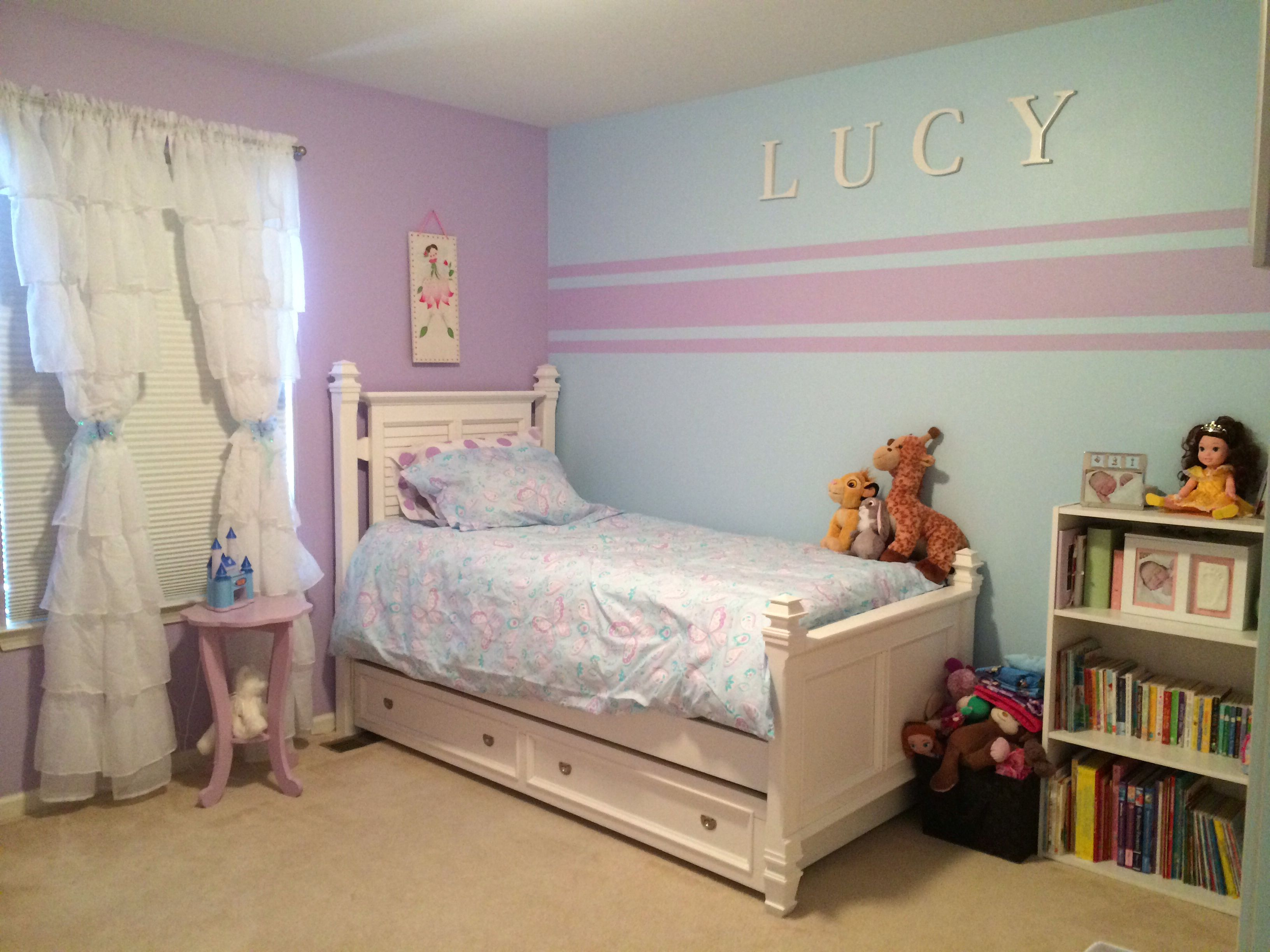 Girls Bedroom Ideas Blue And Purple. Accent wall stripes for little girl room  Blue paint Soar from Sherwin Williams and purple Kristin duvet set