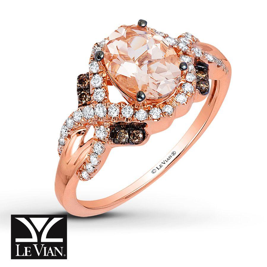Le Vian Morganite Ring 1/3 ct tw Diamonds 14K Strawberry Gold YrRKs