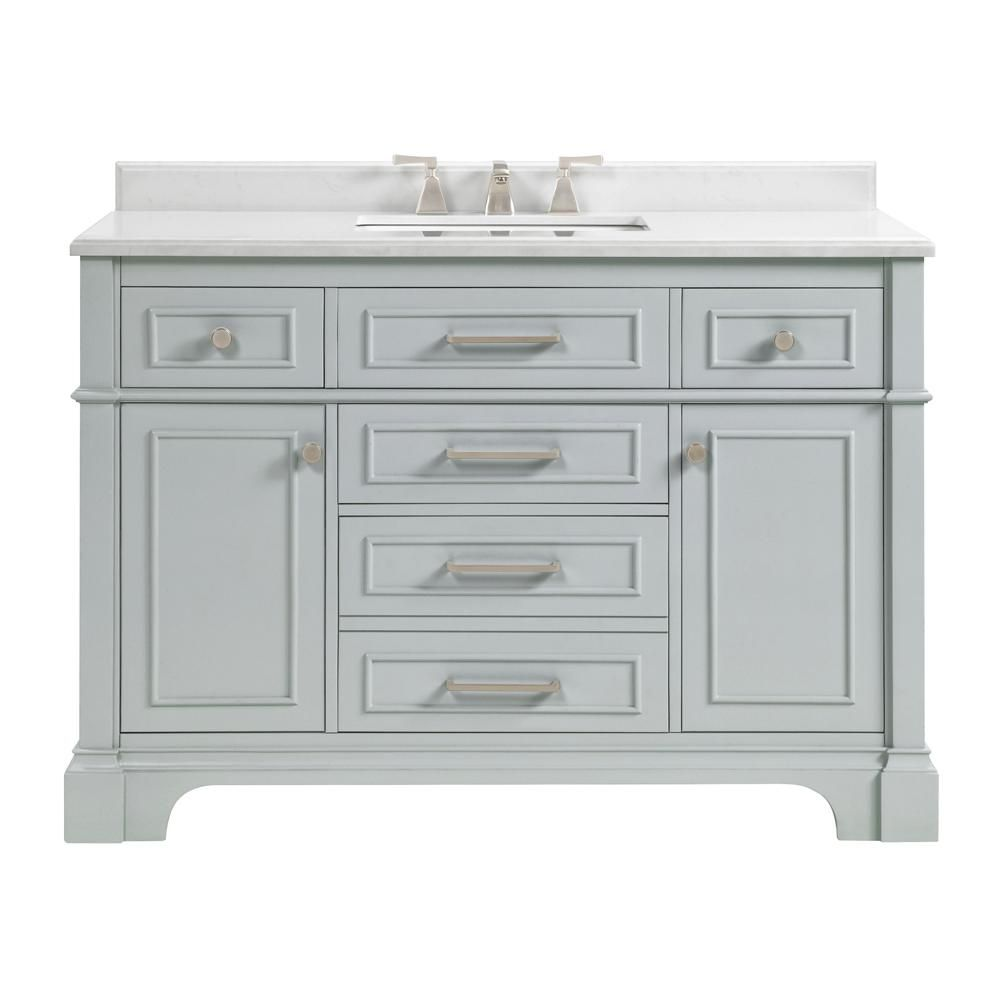 Home Decorators Collection Melpark 48 In W X 22 In D Bath Vanity In Dove Grey With Cultured Marble Vanity Top In White With White Sink Melpark 48g The Home In