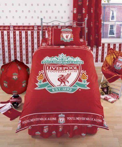 Liverpool Football Club FC Single bedding Duvet Set Red You/'ll never walk alone