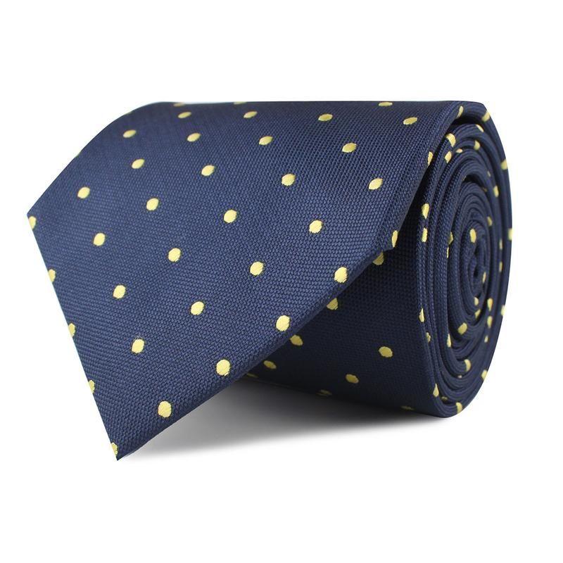 d7681cf6567c5 Navy Blue with Yellow Polka Dots Necktie in 2019   Wedding   Polka ...