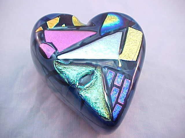 Fabulous Studio Dichroic Art Glass Heart Paperweight | eBay