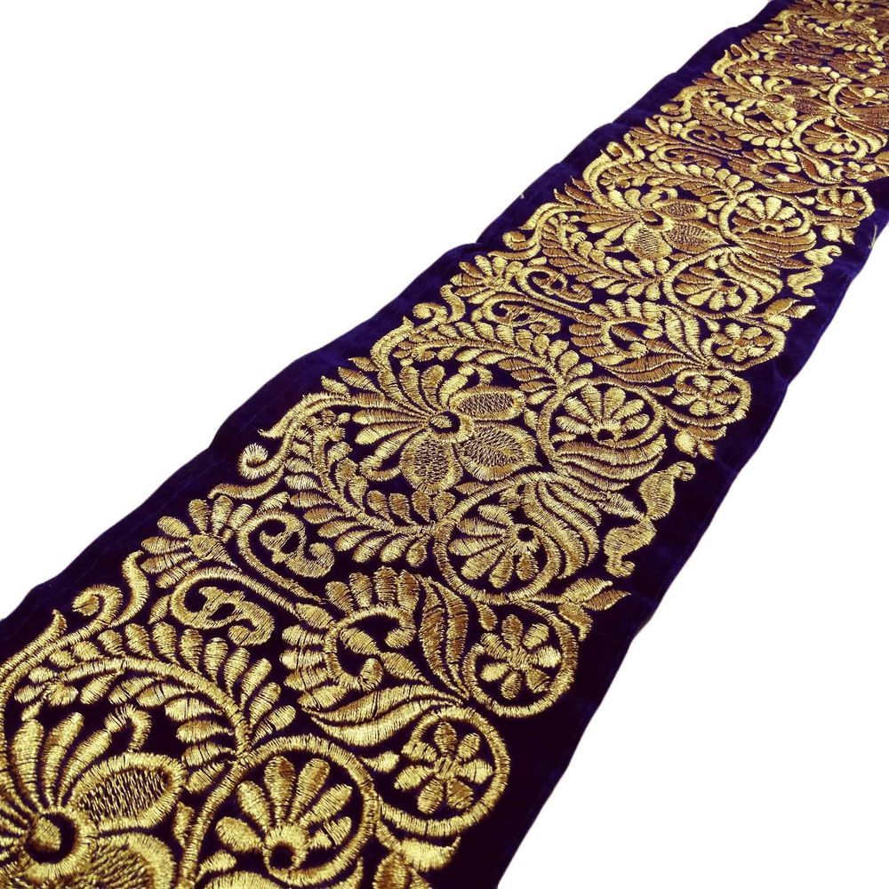 """Indian Trim Floral Embroidered Craft Ribbon 5.1"""" Wide Sari Border By The Yard"""