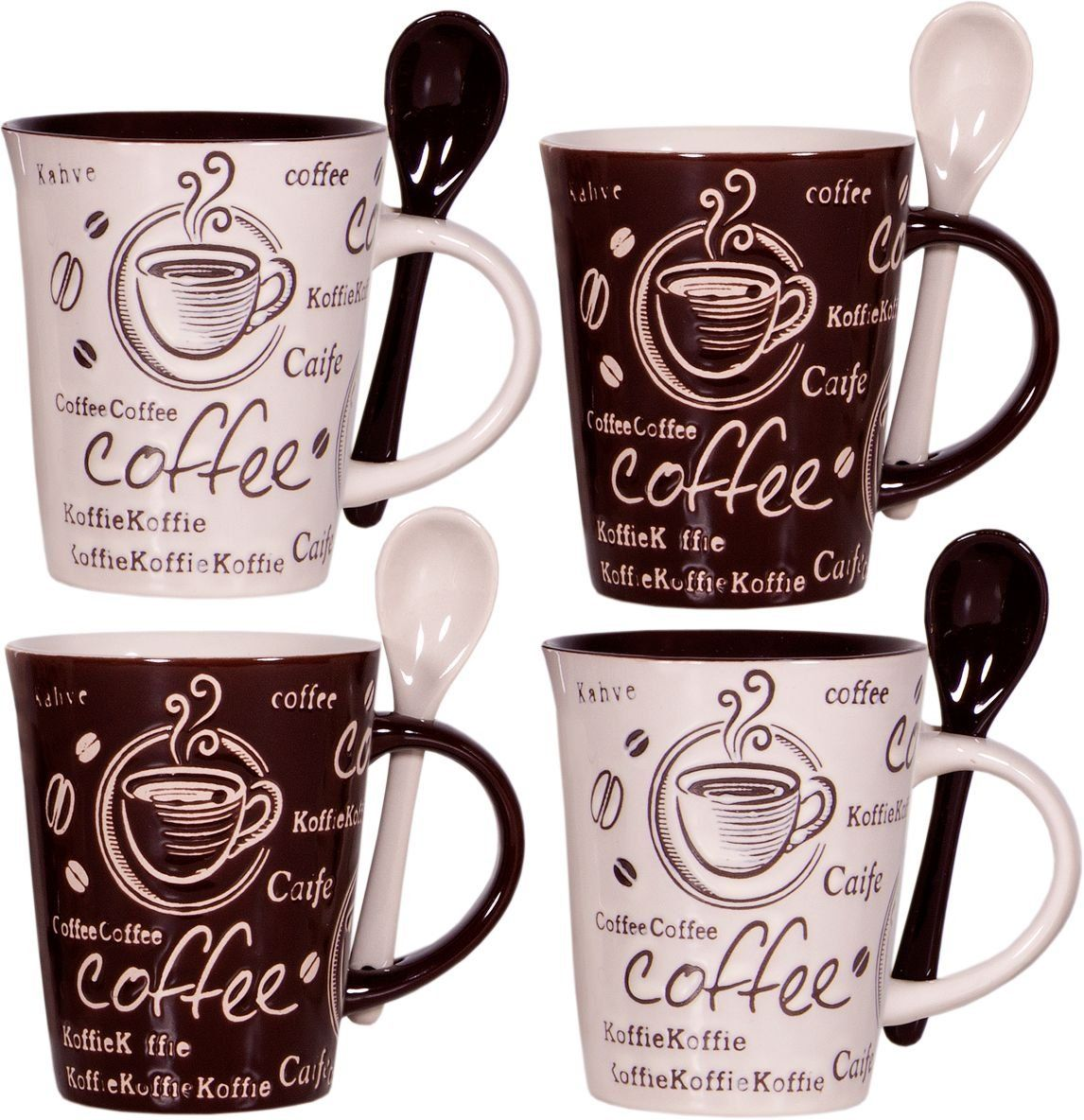 Cafe Style 10 Oz Coffee Mug and Spoon, (Set