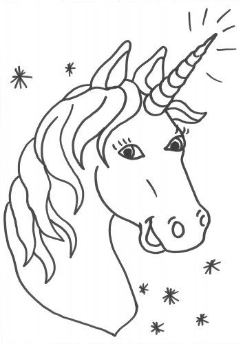 Unicorn Head Coloring Page 2938492384234 head coloring