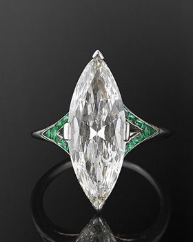 Art Deco Marquise diamante e esmeralda Anel