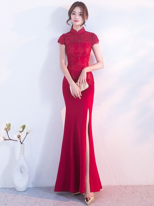 Long Split Front Qipao   Cheongsam Gown with Lace Top  e7de9309931f
