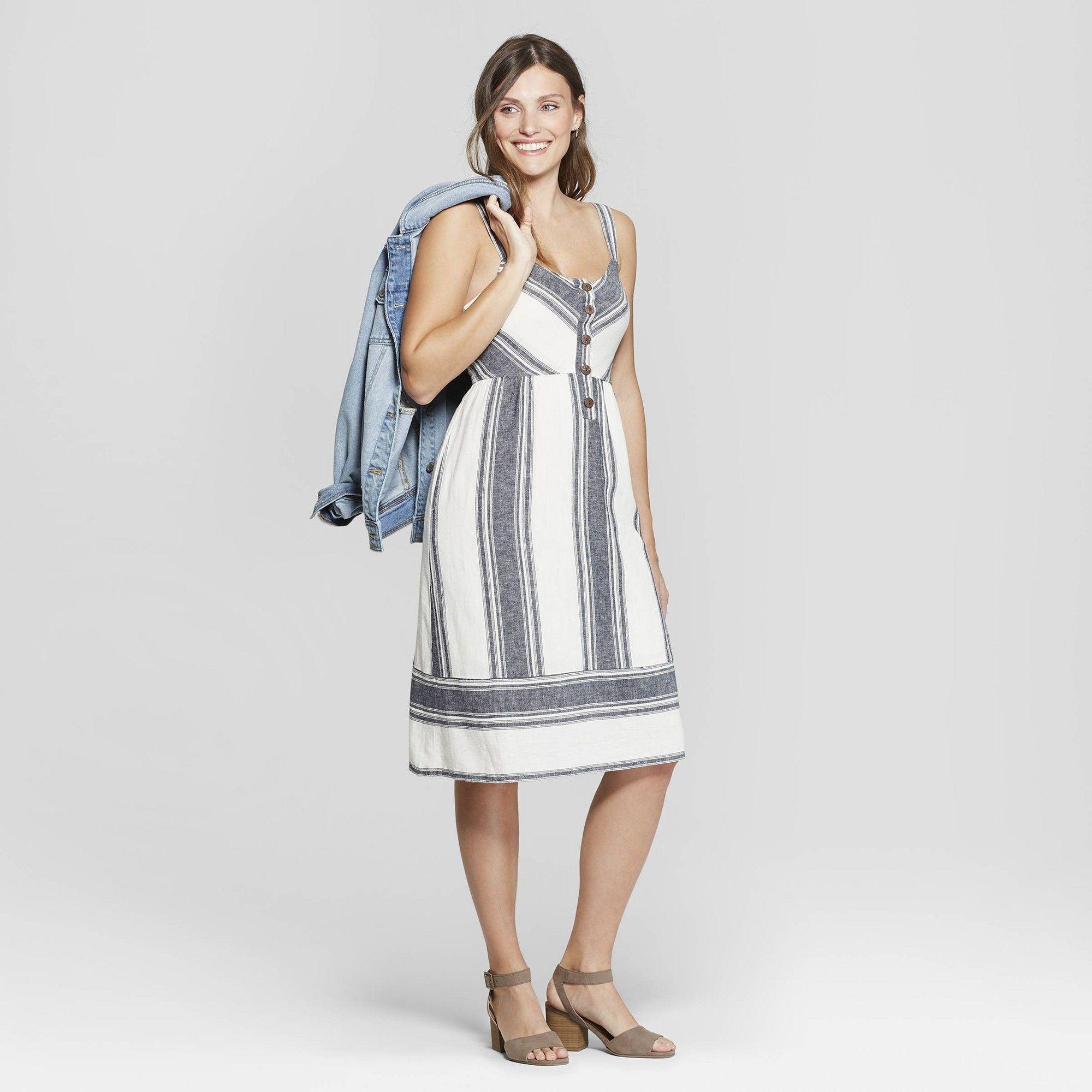 0da0f36b26a Women s Sleeveless V-Neck Striped Button Front Midi Dress - Universal Thread  Ivory S