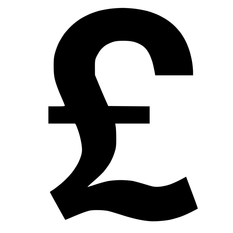 British Pound Symbol Die Cut Decal Car Window Wall Bumper Phone