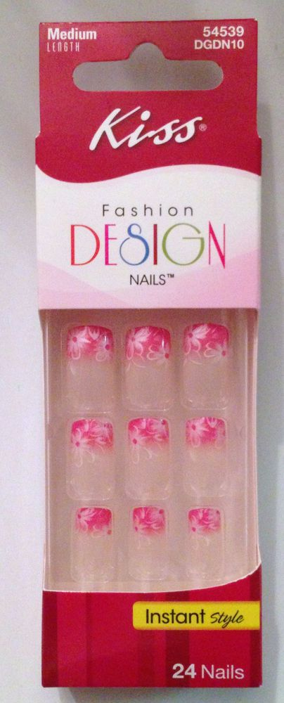 KISS Fashion Design Nails 24 GLUE ON NAILS 54539/DGDN10 Pink Tips ...