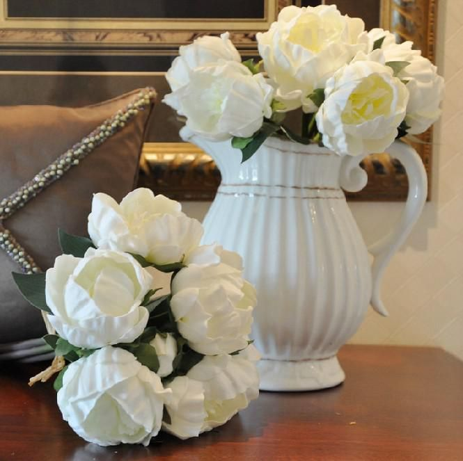 Real Touch Flower Bouquet White Peony Pu Latex Peonies Flowers Natural Look For Bridal Bridesmaids Table Centerpieces