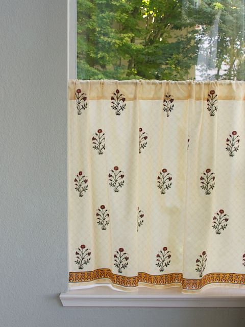 Red Poppy Elegant Indian Flower Print Kitchen Curtain Floral