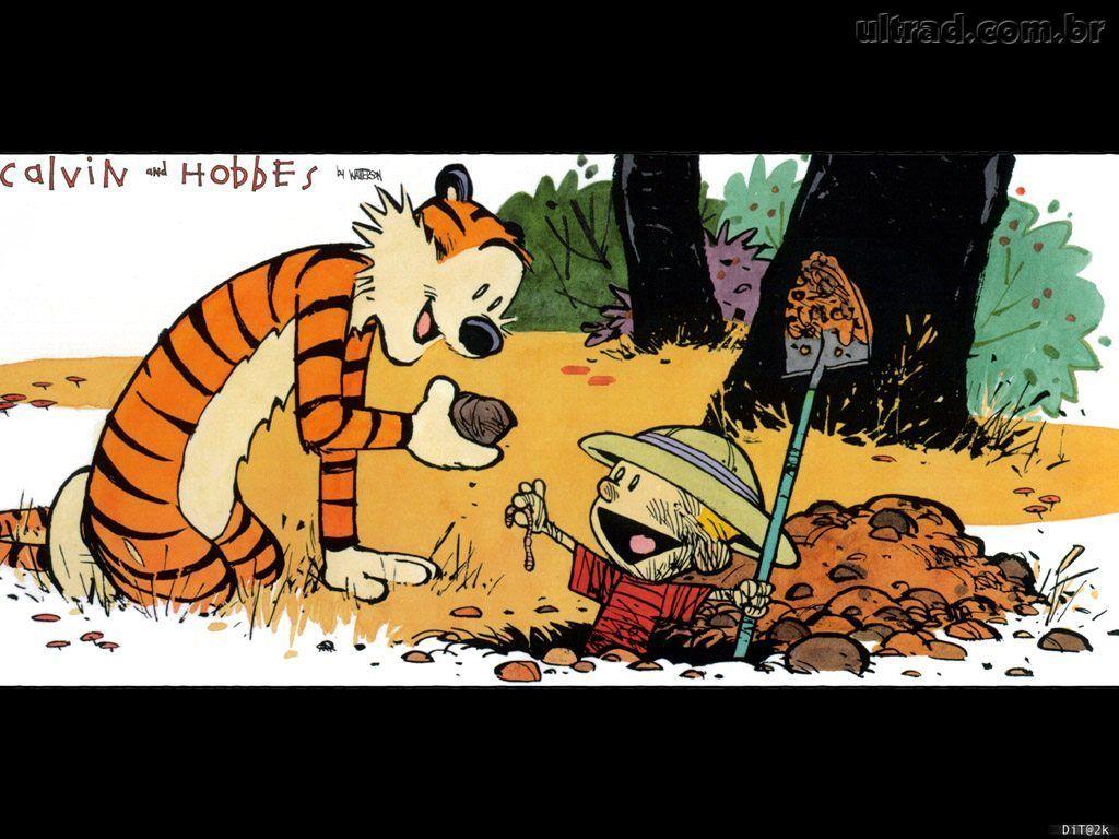 brincando na lama (quadrinhos de Calvin e Hobbes)