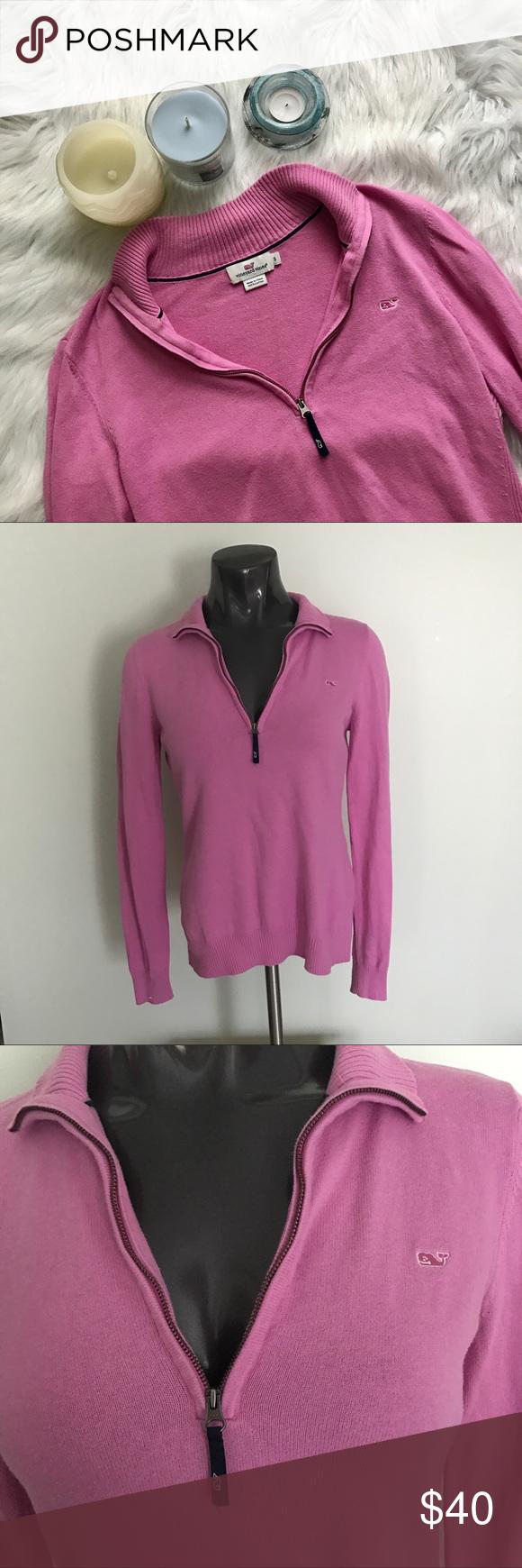 Vineyard Vines} Pink Quarter Zip Sweater | Comfy sweater, Flats ...