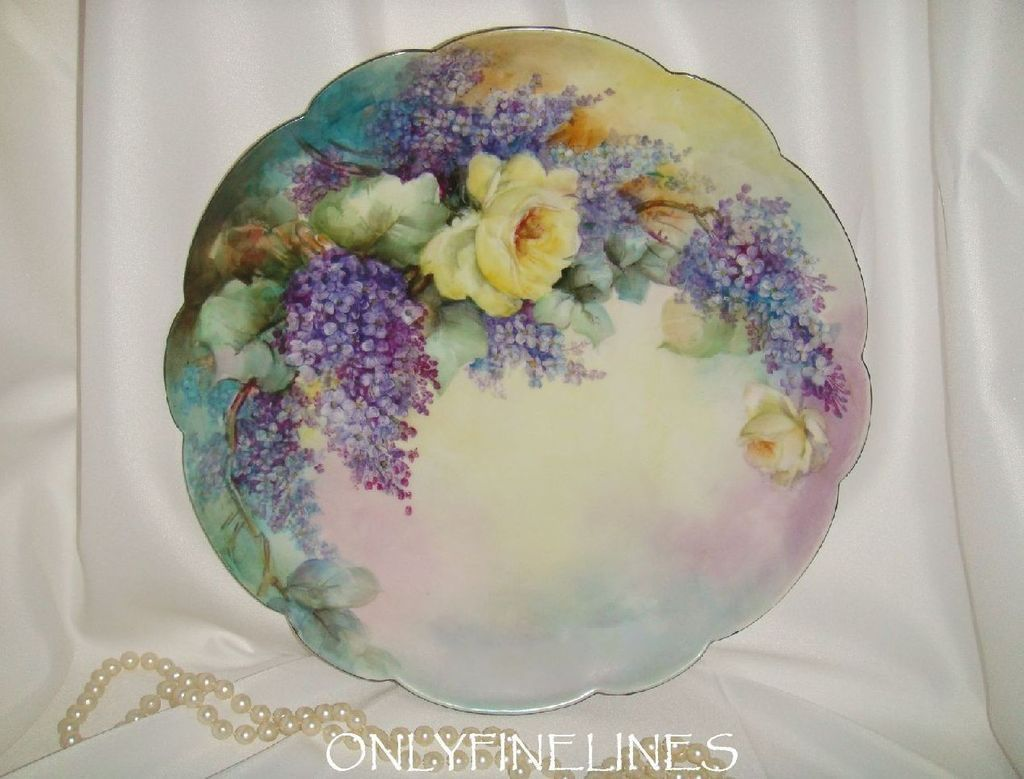 "T&V - Limoges - France - 13 1/2"" - Charger - Plate - Hand Painted - from onlyfinelines on Ruby Lane"