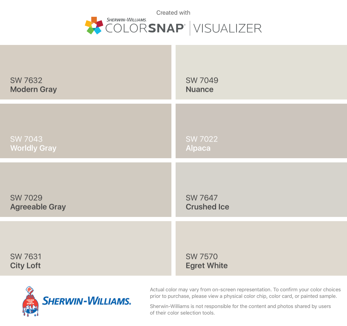 I found these colors with ColorSnap® Visualizer for iPhone by Sherwin-Williams: Modern Gray (SW 7632), Worldly Gray (SW 7043), Agreeable Gray (SW 7029), City Loft (SW 7631), Nuance (SW 7049), Alpaca (SW 7022), Crushed Ice (SW 7647), Egret White (SW 7570). #cityloftsherwinwilliams