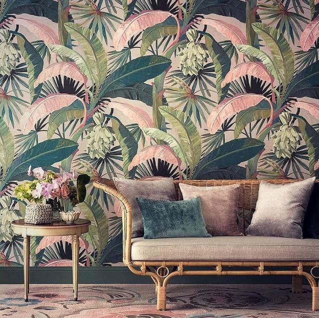 Nz Bold Beautiful Colorful Tropical Curtain Drapery Fabric New Zealand Tropical Wallpaper Tropical Decor Palm Trees Wallpaper